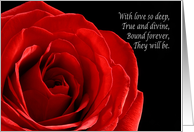 Elegant red rose wedding announcement from parents of the bride card