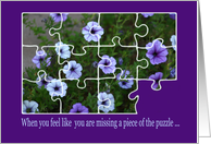 encouragement petunia puzzle for Grandmother card