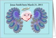 New Baby Boy Birth Announcement customizable front card