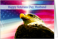 Happy Veterans Day Husband flag Bald Eagle card