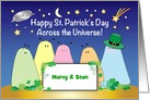 St. Patrick's Day, across the miles, space alien bugs card