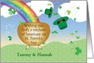 St. Patrick's Day to Sister & Sister in Law, rainbow card