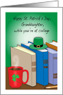 St. Patrick's Day, granddaughter, at college, shamrock, books card