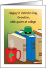 St. Patrick's Day, grandson, at college, shamrock, books card
