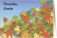 Custom Name Thanks for Cleaning Gutters, Leaves card