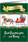 For Great Granddaughter & Family Christmas Sleigh card