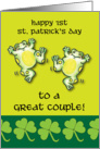 1st St. Patrick's Day as a Couple, frogs card