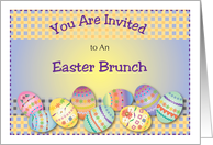 Easter Brunch invitation, decorated eggs card