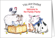Invitation to Welcome to the Family Party, farm animals card