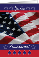 Encouragement to Military, USA flag, stars card