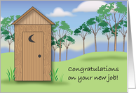 Congratulations, new plumber job, outhouse card