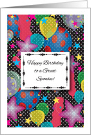 Birthday for Sponsee, colorful balloons card