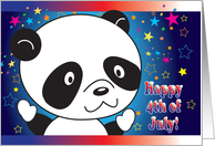Happy 4th of July for a Kid, panda, stars card