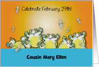 Custom name Leap Year Day, frogs card