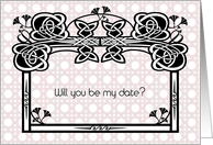 Invitation for a Date, basket weave card