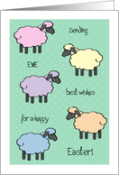 Happy Easter pastel colored sheep card