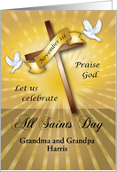 Custom Name All Saints Day, cross, doves card