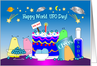 World UFO Day, July 2nd, aliens, stars, food card