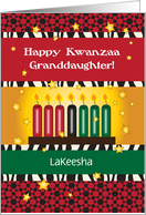 Custom Name Kwanzaa for Granddaughter, candles card