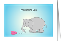 Missing you, sad elephant, deflated balloon card