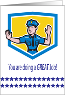 Encouragement to Policeman, shield, stars card