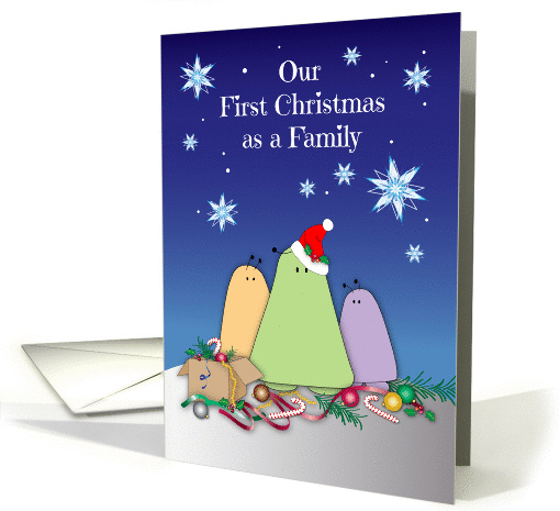 First Christmas as Family, space alien bugs, snowflakes card (1445934)