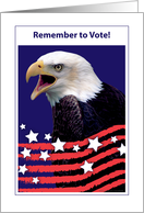 Remember to Vote, USA, Bald Eagle, stars card