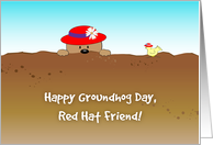 Groundhog Day for Red Hat Friend card