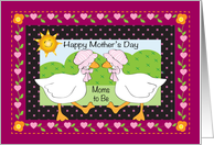 Mother's Day for Moms to Be, geese, folk art card