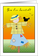 Invitation to Harvest Festival, scarecrow card