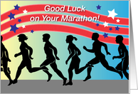 Good Luck on Military Marathon, runners, stripes, stars card