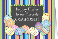 Easter for Adult Grandson, decorated eggs card