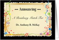 Custom Name Announcement, Residency Match card