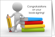 Congratulations, Book Signing, Stacked Books card
