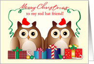 Merry Christmas, Red Hat Friend, Owls, Presents card