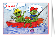 Father's Day / Frogs fishing, boat card