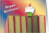 Birthdays To A Book Lover Books Cupcake Card