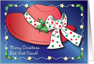 Christmas To Red Hat Friend, Holly card