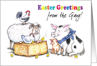 Easter / from the gang, farm animals card