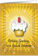 Birthday / For Special Volunteer, cupcake card