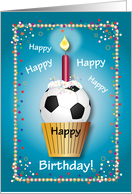 Birthday / For Soccer Fan, cupcake card