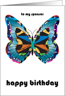 Birthday / to Sponsor, abstract butterfly card
