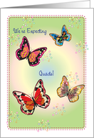 Announcement, Expecting Quads, butterflies card