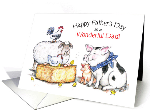 Father's Day, Farm Animals Theme card (898973)