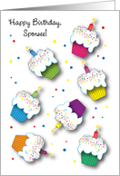 Birthday to Sponsee, cupcakes, candles card