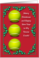 Merry Christmas to Tennis Coach card