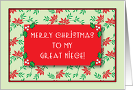 Merry Christmas to Great Niece, Money Card