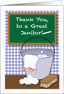 Thank You, to Janitor, chalkboard, bucket card