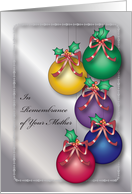 Christmas, In Remembrance of Mother, ornaments card