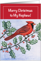 Christmas, Money Enclosed to Nephew, cardinal card